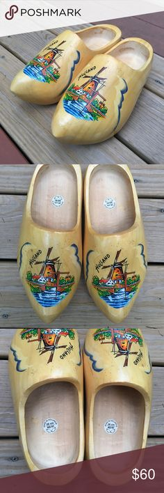 🔥 AUTHENTIC Dutch wooden clogs 🔥 These incredible wooden clogs were made in Holland. Perfect for walks around town, costume parties, and clog dancing. You just can't go wrong with THESE clogs!!!! Slight wear and tear, but very posh Shoes Mules & Clogs