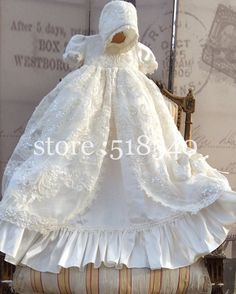 2015 Baby Girls Imitated Satin Lace Baptism Dresses Ivory Christening Gowns Newborn Baby Girl Dresses