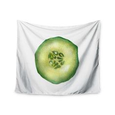 """Theresa Giolzetti """"Cucumber"""" Green White Wall Tapestry"""