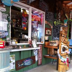 Tiki's at 51st, Lincoln City, Oregon - Funky little cafe/coffee/food/booze hut with a gift shop & lots of outdoor seating. Very charming & fun in the historic Taft area.