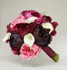Purple Red and Pink Bridal Bouquet
