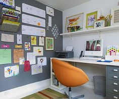 Home Office - Tip #2  For the shelf, Loecke suggests piecing together white melamine planks or having lumber cut to fit and then painting it. Make the bulletin board by stretching fabric over lengths of homasote (a building material available at home stores) and stapling it in back. For the desk, mount a piece of countertop material such as laminate on a pair of file cabinets or shelving units.