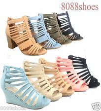 Women's Fashion Cute Strappy Zipper Wedge High Heel Sandal Shoes Size 5 - 10 NEW