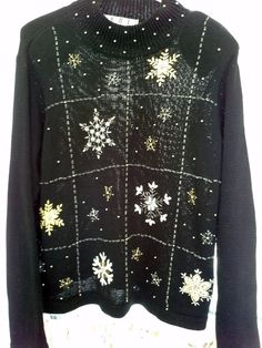 3b2e2d679c6 M Embroidered Snowflake beaded Christmas sweater Ugly contest Medium OHI   OHI Ugly Christmas Sweater