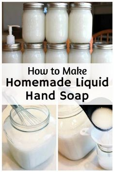 Looking for a simple homemade liquid hand soap recipe? This DIY hand soap is easy to make and you can customize it with your favorite essential oils too! Homemade Hand Soap, Homemade Soap Recipes, How To Make Homemade, Castile Soap Recipes, Liquid Hand Soap, Liquid Soap Making, Bath Soap, Diy Décoration, Easy Diy