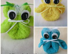 Baby Shower Washcloth Owls for a Baby Shower favor
