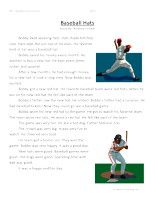 Baseball Hat -SecondGrade Reading Comprehension Test: Use theinformationin thestorytoanswerthe 5 comprehension questions. Answer Key IsIncluded.