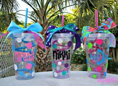 Personalized Curly Straw Tumbler Cup by theditzyglitzygirls, $16.00