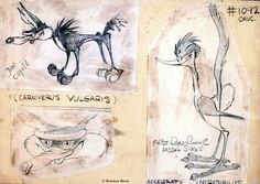 Earliest known drawings of Wile E. Coyote & the Road Runner. #roadrunner #conceptart #looneytunes #drawings #sketch #design #characterdesign
