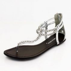My kind of shoe, because it's my kind of price :)   via CHIQ | WALTZ-220 Met. PU Rhinestone T-Strap Flat Thong Sandals ||:Silver:||Wild Diva!my shoes!
