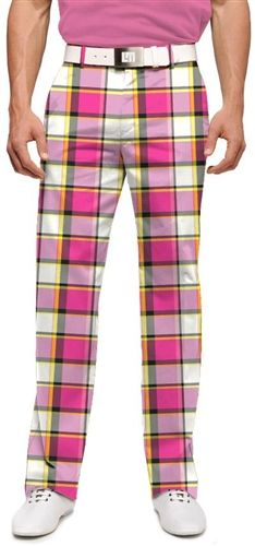 Mens Golfing Pants by Loudmouth Golf - Strawberry Shake. Golf Attire, Golf Outfit, Golfball, Golf Pictures, Golf Pants, Scream Queens, Mens Golf, Men's Apparel, Shake