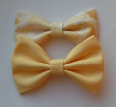 Yellow fabric bow clips, baby bows, Bow clips, small fabric hair bows, Bow $5.99