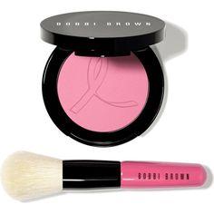 BOBBI BROWN Peony Set ($52) ❤ liked on Polyvore featuring beauty products, makeup, pink makeup, bobbi brown cosmetics, powder blush, blending brush and mini makeup