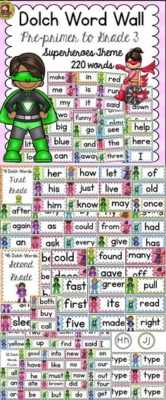 Dolch words, also called sight words are the most common words found in Children's Literature. Help your students become better readers with this 220 Dolch Word Wall Set featuring the kid popular Superheroes theme.  https://www.teacherspayteachers.com/Product/BACK-TO-SCHOOL-CLASS-DECOR-DOLCH-WORD-WALL-SET-PRE-PRIMER-TO-GRADE-3-1981084