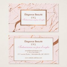 Pink and Rose Gold Marble Designer Business Card