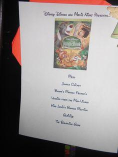 The Jungle Book Menu