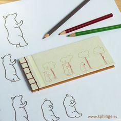 """Japanese binding with an original illustration with """"Bear and Madroño"""" / Cuaderno fabricado y cosido a mano. Ilustración original con """"Oso y Madroño"""""""