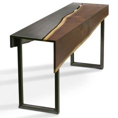 Coexist Collection Style shown: console table in Black Walnut Available woods: Spalted Maple Available styles: dining table console table coffee. Metal Furniture, Table Furniture, Cool Furniture, Furniture Design, Luxury Furniture, Slab Table, Dining Table, Live Edge Console Table, Wooden Console Table