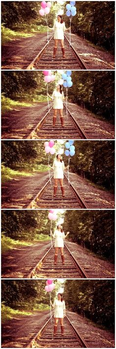 Clever gender reveal photo announcement for a boy or girl pink & blue balloons Toni Kami ~•❤• Bébé •❤•~ Pregnancy photography idea DIY It's a Girl!