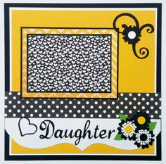 This happy, bright premade scrapbook page is perfect for photos of your daughter. This layout is appropriate for babies through adult daughters.