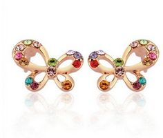 Bowknot Studs Earring, LovEnter 18K Rose Gold Plated, Multi Crystal Butterfly, Colorful Crystal by LovEnter -- Awesome products selected by Anna Churchill