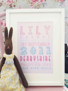 Personalised Baby Sampler Print