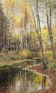 Autumn in the birchwood; signed and dated 'PMônsted. 1903.' (lower right); By Peder Mørk Mønsted (b. 10 December 1859; Balle Mølle, Denmark – d. 20 June 1941; Fredensborg, Denmark) Oil on canvas; 114 × 70.5 cm 44 ⅞ × 27 ¾ in.) Signed and dated 'PMônsted. 1903.' (lower right) https://www.bonhams.com/auctions/19923/lot/93/ https://en.wikipedia.org/wiki/Peder_M%C3%B8rk_M%C3%B8nsted
