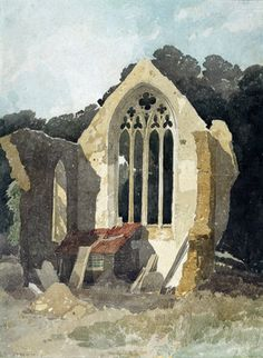 The Refectory at Walsingham Priory - John Sell Cotman - Leeds Art Gallery Print on Demand Art Gallery Website Watercolor Landscape, Watercolour Painting, Landscape Art, Landscape Paintings, Watercolors, Landscapes, Art And Illustration, Leeds Art Gallery, Gcse Art Sketchbook