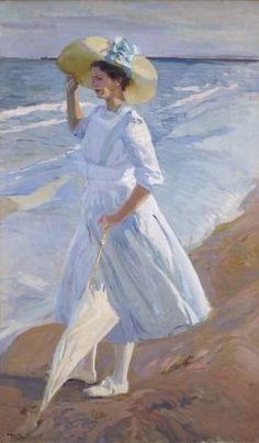 Joaquin Sorolla - Elena en la playa - Walk on the Beach - Wikipedia Spanish Painters, Spanish Artists, Beach Walk, Art Sketchbook, White Art, Love Art, New Art, Illustration, Art Photography