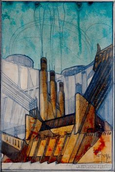 Power Station: Antonio Sant'Elia: Circa 1914: Fine Art Print  #FuturistMovement