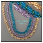 Beaded Spiral Rope Instructions by Judith Bertoglio-Griffin at Bead-Patterns.com! This two color, basic, but elegant pattern has a wide variety of uses. It makes a nice bracelet, necklace, or strap for most bags. Quick & easy to make up, it's suprisingly strong.
