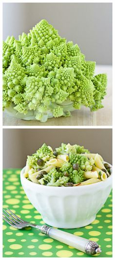Pasta Salad with Romanesco, Capers, and Saffron is an easy vegetarian side dish flavored with Indian spices, fresh herbs, and salty capers. | Culinary Hill