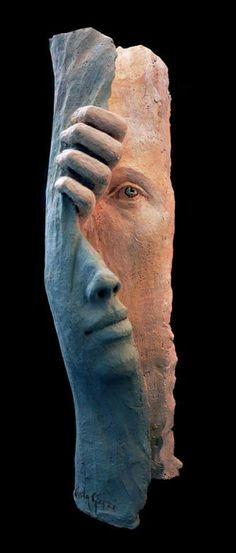 Paola Grizi: courtain - scultura in terracotta policroma, 2015 Book Sculpture, Modern Sculpture, Abstract Sculpture, Paper Sculptures, Clay Art, Ceramic Art, Wood Art, Amazing Art, Sculpting