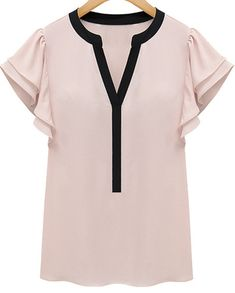 14.33 Pink Ruffle Short Sleeve V-neck Blouse