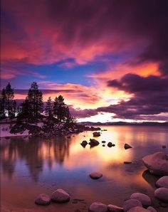 sunset, colurful, water, sea, beach, orange, pink, violet, purple, balck, tree, lake, hill, mountain, trees, view, clouds, blue, grey, green, house, colours, stones, green, galaxy, milky way, via lactea, person, lights, waterfall, mint, ice, river
