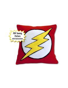 All PDF Patterns $5 sale thru 11/7/2015 Flash Pillow PDF Pattern, DC Comics by PatternsOfWhimsy on Etsy