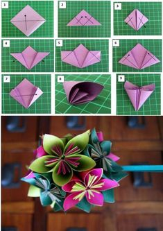 Big Paper Flowers Cloth Flowers Faux Flowers Flower Cards Fabric Flowers Diy Flowers Diy Arts And Crafts Crafts To Make Paper Magic Paper Origami Flowers, Paper Flowers Craft, Paper Crafts Origami, Diy Origami, Flower Crafts, Diy Flowers, Origami Flower Bouquet, Wedding Flowers, Origami For Beginners