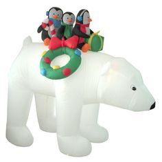 BZB Goods Christmas Inflatables Penguins on Polar Bear Decoration
