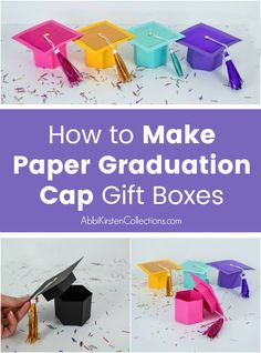 DIY Graduation cap gift box craft with free templates and step by step tutorial. Use your Cricut or printer to make these gift boxes for graduates.