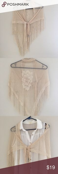 Beautiful Crochet Cream Scarf /Wrap Excellent condition, 100% Rayon, made in Japan, note the rose on the back Accessories Scarves & Wraps