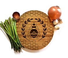 Honey Bee, Round Cutting Board, Wood Round Tray, Wooden Trivet, Foodie Gift, Popular Right Now