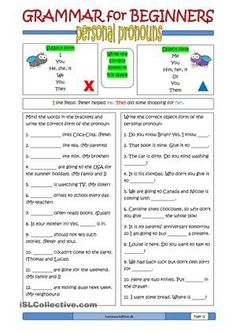Here is the 12th ws in the series of grammar worksheet for beginners. This one is about personal pronouns (subject form and object form). - ESL worksheets
