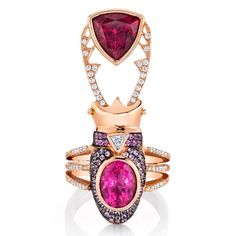 Are We Thinking Pink This Summer? Red Spinel, Insect Jewelry, Pink Gemstones, Color Ring, Pink Summer, Needful Things, Rose Cut Diamond, Pink Sapphire, Fingers