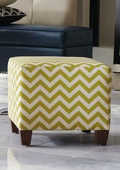 Brighten any room in your home with the chic, compact Tia Ottoman with its fun chevron design.