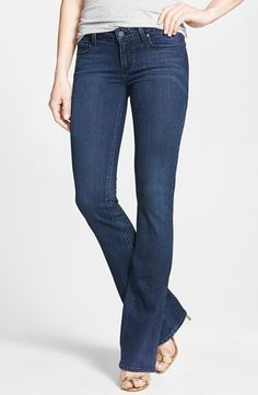 Free shipping and returns on Paige Denim 'Transcend - Skyline' Bootcut Jeans (Valor) at Nordstrom.com. Cleanly styled jeans are cast in a rich dark wash and cut for a slim fit that flares below the knee.<br><br>Using the latest in performance-fiber technology, TRANSCEND denim redefines luxury, recovery and comfort with a fabrication that provides a flawless fit without stretching out.