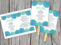 DIY Wedding Fan Blue Teal Green by PaintTheDayDesigns on Etsy, $10.00