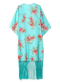 ReachMe Womens Womens Floral Print Chiffon Kimono Cardigan Blouse Beach Cover up(1 Turquoise One Size)