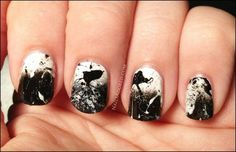 Black and White straw splatter (dip one end of a straw in nail polish and blow through other end)