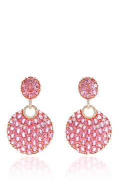 Pink Sapphire Drop Earrings in 18K Pink and White Gold - Giovane Resort 2016 - Preorder now on Moda Operandi