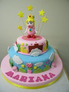 Super Mario Baby Peach cake Super Mario Party, Super Mario Peach, Bolo Super Mario, Super Mario Birthday, Super Mario Bros, Princess Peach Mario Kart, Princess Peach Party, Baby Shower Princess, Baby Princess